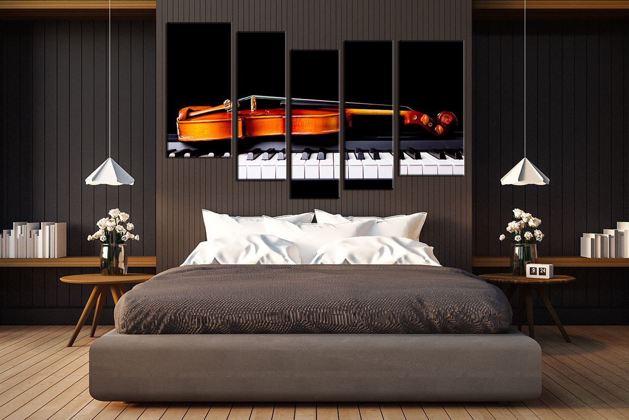 Bedroom Decor, 5 Piece Wall Art, Violin Wall Art, Music Wall Decor,