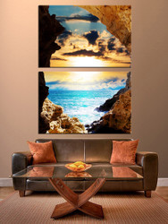 2 piece canvas wall art, ocean artwork, yellow multi panel canvas, sunset artwork, living room huge pictures