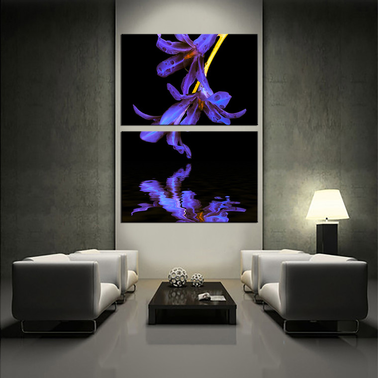 2 piece canvas wall art floral huge pictures purple. Black Bedroom Furniture Sets. Home Design Ideas