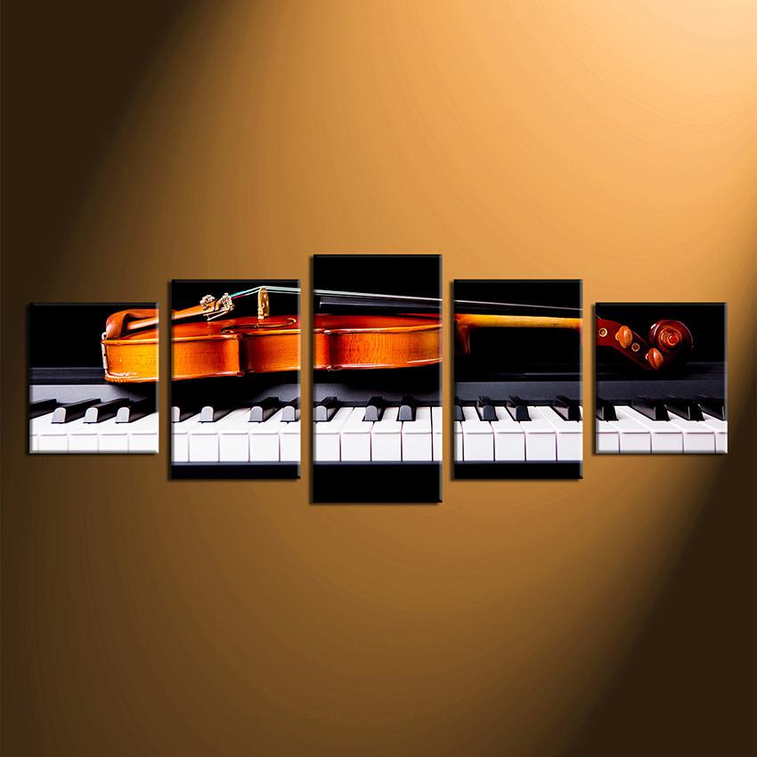 5 Piece Canvas Wall Art, Piano Multi Panel Art, Violin Huge Canvas ...
