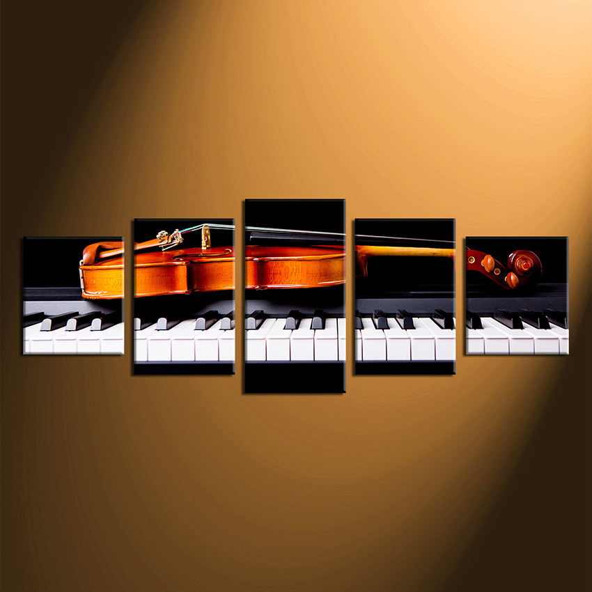 5 Piece Canvas Wall Art, Black Photo Canvas, Violin Multi Panel Art, Orange