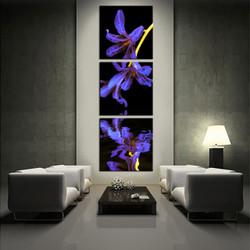 3 piece photo canvas, flower artwork, purple multi panel canvas, floral multi panel art, living room huge canvas art