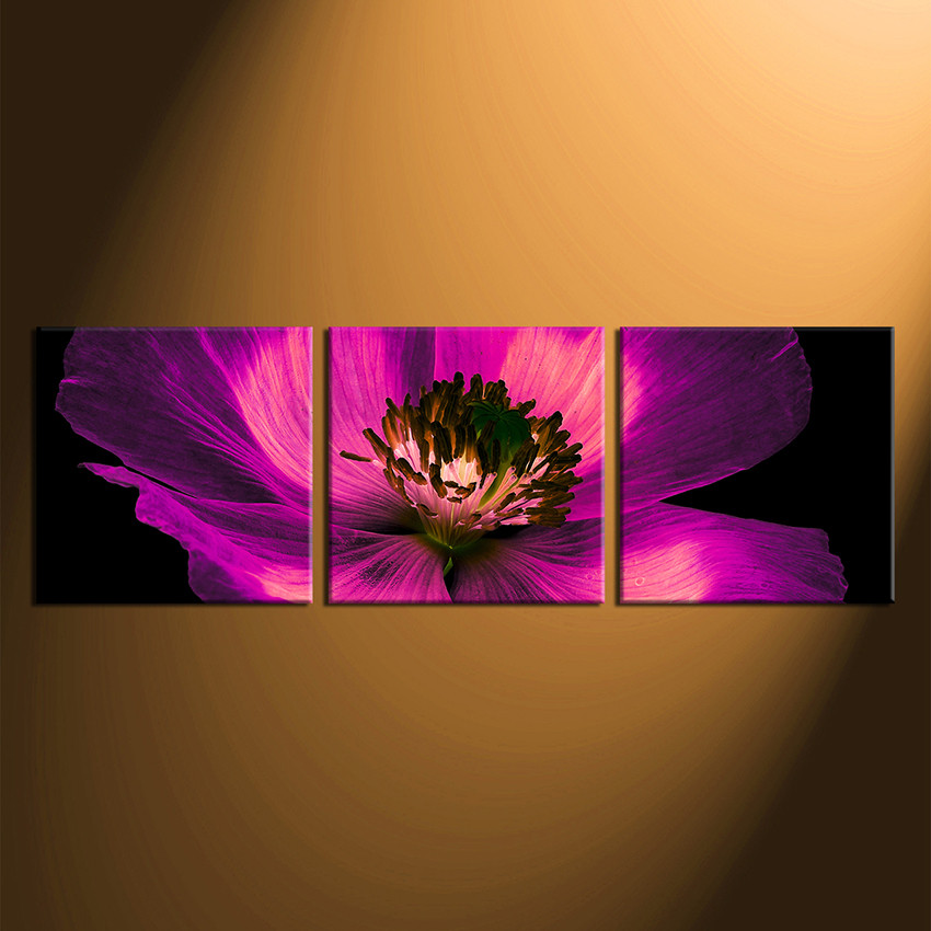 3 Piece Group Canvas, Purple Flowers Multi Panel Art, Floral Canvas ...