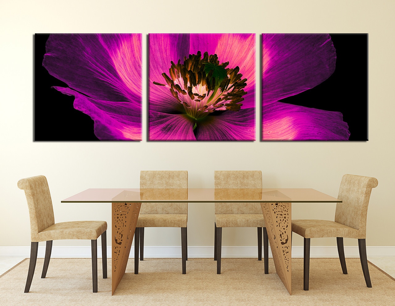 Floral Canvas Wall Art 3 piece group canvas, purple flowers multi panel art, floral