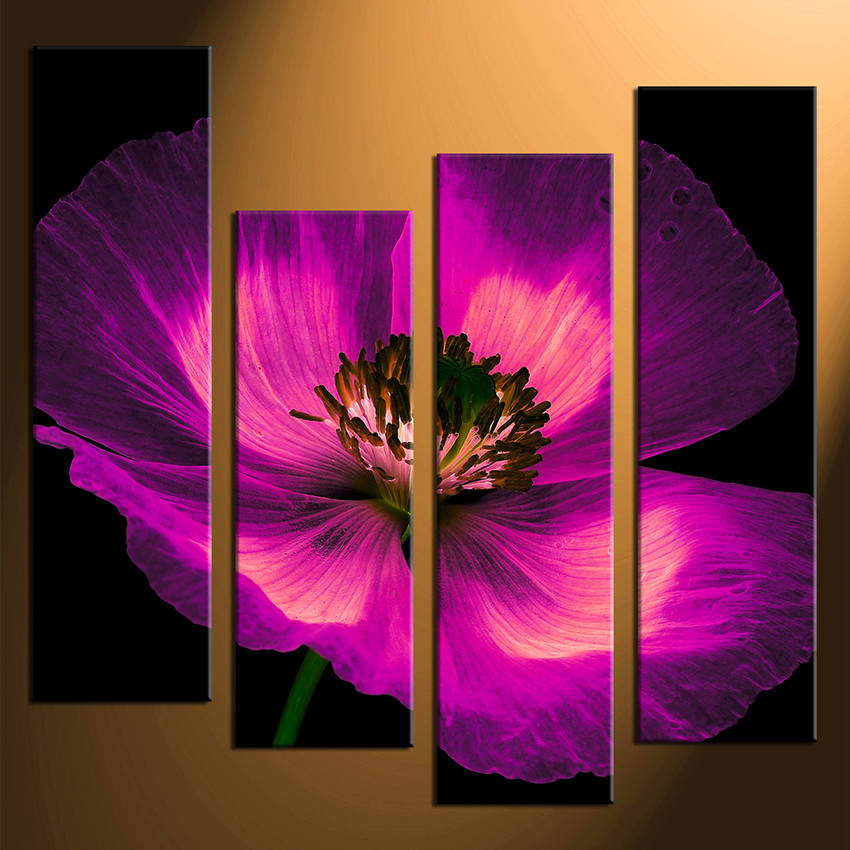 4 Piece Wall Art, Purple Flowers Multi Panel Canvas, Floral Canvas ...