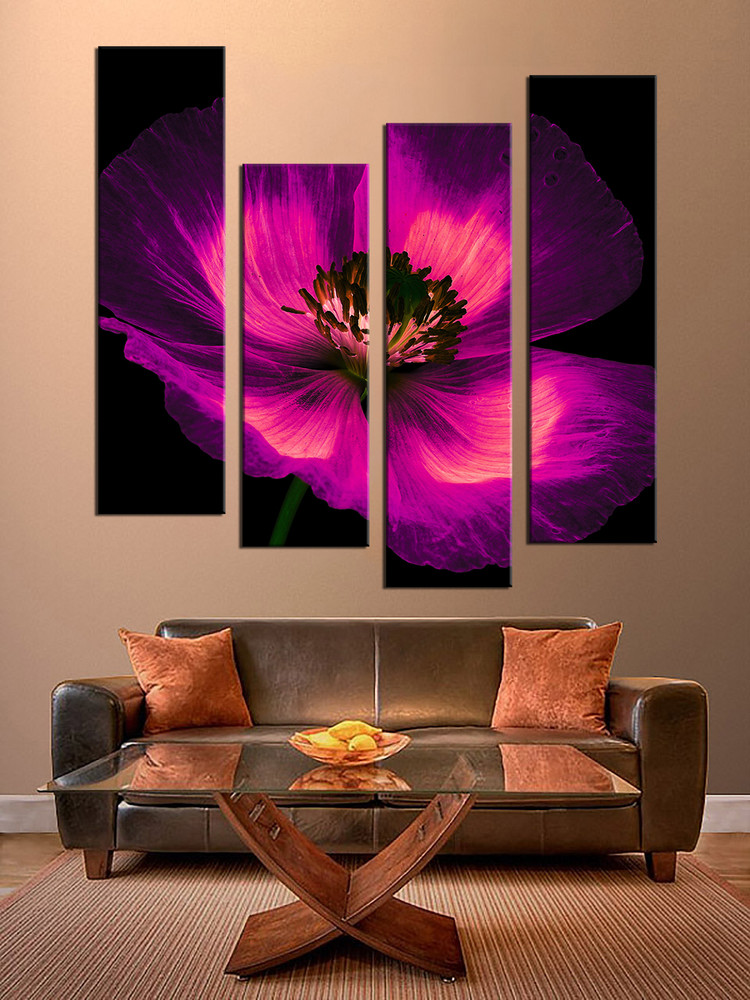 4 Piece Wall Art, Purple Flowers Multi Panel Canvas, Floral Canvas Photography, Panoramic ...