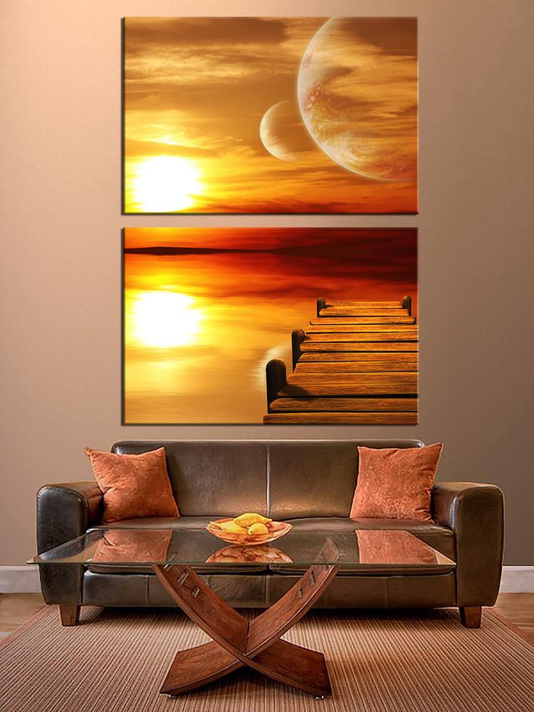 2 piece wall decor orange multi panel canvas ocean large for Orange wall art