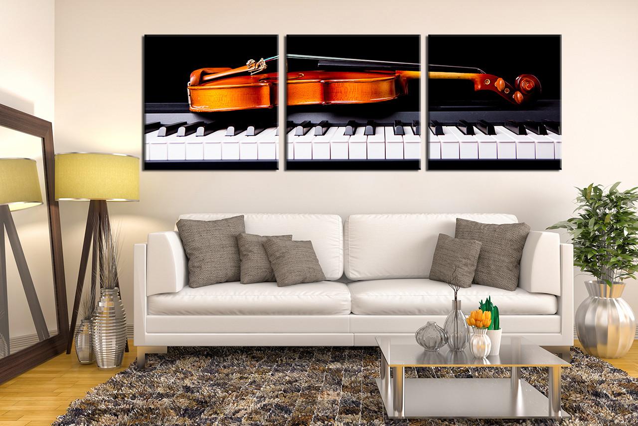 3 Piece Large Canvas, Music Photo Canvas, Violin Wall Decor ...