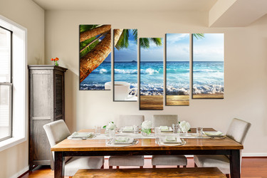 5 piece canvas wall art, dining room huge pictures, ocean multi panel art, blue  group canvas