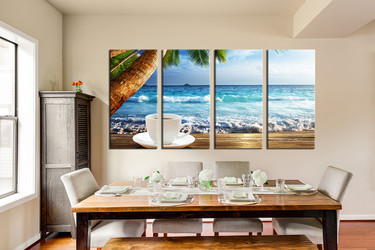 4 piece canvas wall art, dining room huge pictures, ocean multi panel art, blue  group canvas