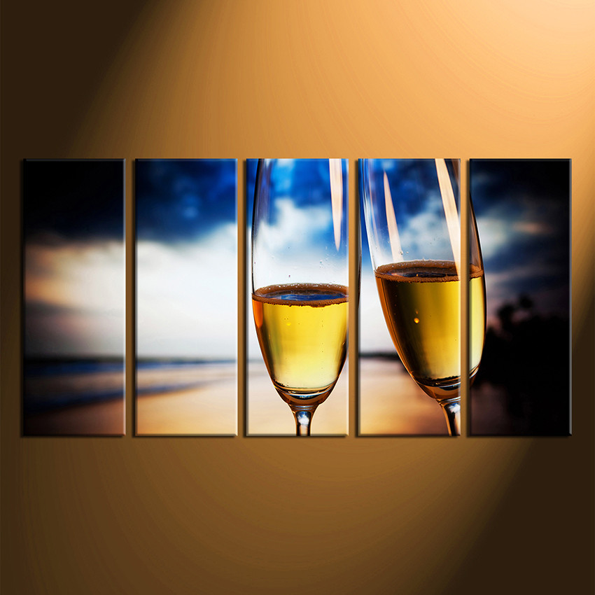 home decor5 piece wall art wine multi panel art yellow wine canvas & 5 Piece Canvas Photography Champagne Wall Art Champagne Multi ...