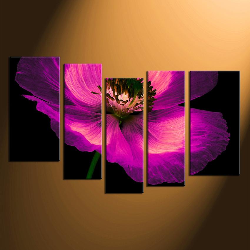 5 Piece Canvas Wall Art, Floral Wall Decor, Purple Canvas Print, Home Decor