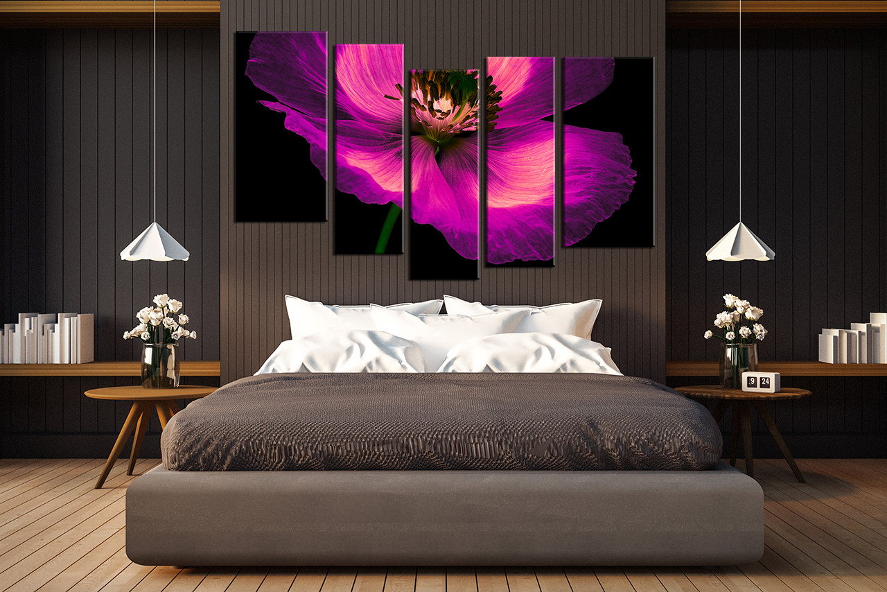 5 Piece Canvas Wall Art, Bedroom Wall Decor , Flower Canvas Print, Purple  Large