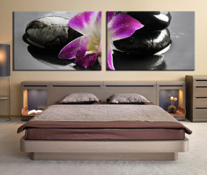 2 piece canvas wall art, bedroom wall decor ,  flower canvas print,  purple large pictures, flower huge pictures,  floral photo canvas