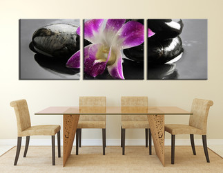 3 piece multi panel art,  dining room huge canvas art,  flower huge canvas print,  purple canvas photography