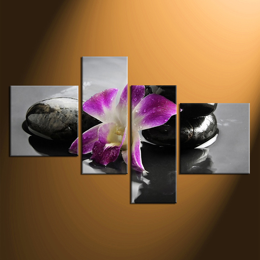 4 piece canvas wall art floral wall decor purple canvas print home decor & 4 Piece Canvas Photography Flowers Huge Pictures Floral Multi ...