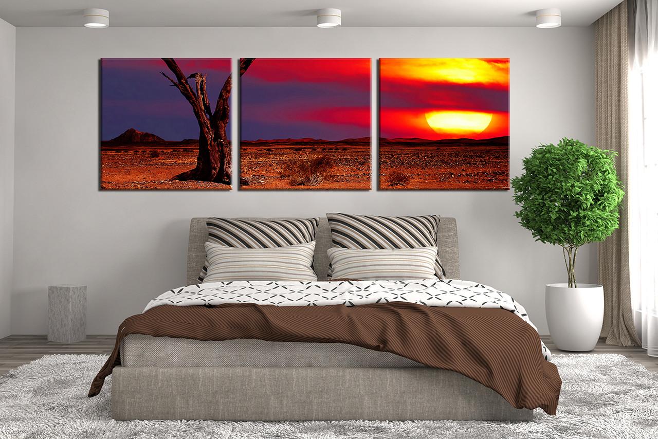 Canvas Wall Art Decor: 3 Piece Group Canvas, Panoramic Sunset Multi Panel Art