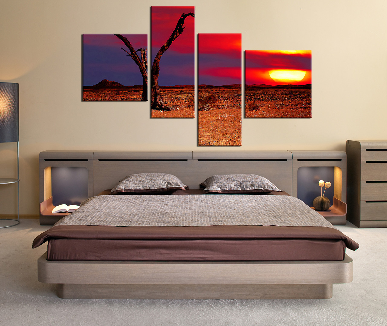 4 Piece Wall Decor Orange Nature Photo Canvas Bedroom Large Pictures Scenery Multi