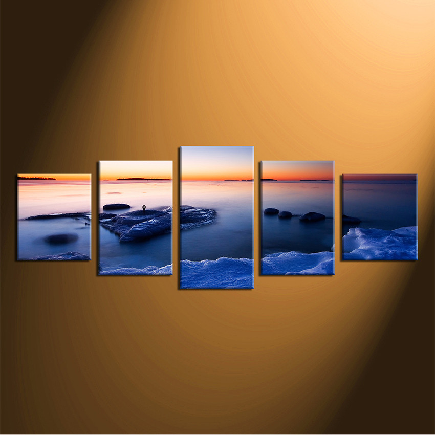Perfect 5 Piece Canvas Wall Art, Home Decor, Blue Huge Pictures, Ocean Group Canvas
