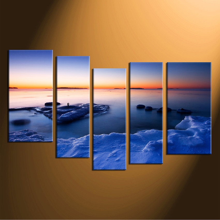 5 piece large pictures ocean group canvas blue sea multi panel art