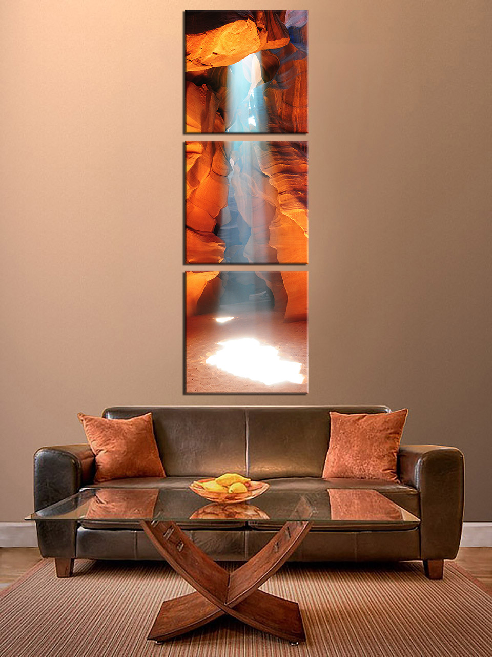3 Piece Canvas Photography, Landscape Sunshine Large Pictures, Sunlight  Shining Mountain Sand Cave Multi Panel Art, Orange Canvas Wall Art Part 94