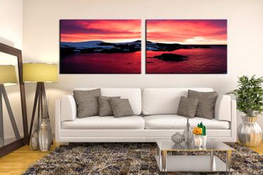 2 piece large canvas, living room canvas art prints, landscape wall art, ocean art, red huge canvas art, sea large pictures