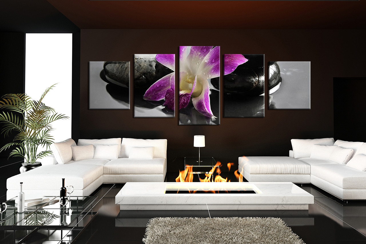 5 Piece Canvas Wall Art flowers wall art flower artwork flower wall decor & 5 Piece Large Canvas Purple Floral Large Pictures Flowers Canvas ...