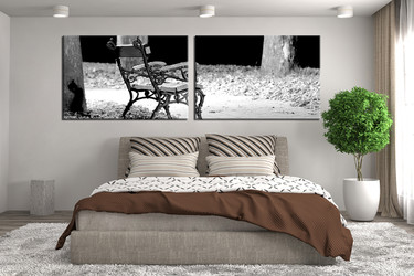 2 Piece Canvas Wall Art, Bedroom Art, Black And Whitemulti Panel Art,  Panoramic