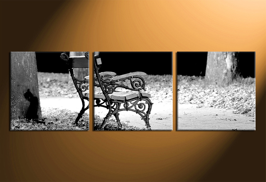 3 Piece Huge Canvas Print, Black and White Wall decor, Bench Canvas ...