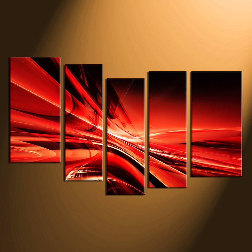 5 Piece Huge Pictures, Abstract Wall Art, Red Abstract Photo Canvas ...