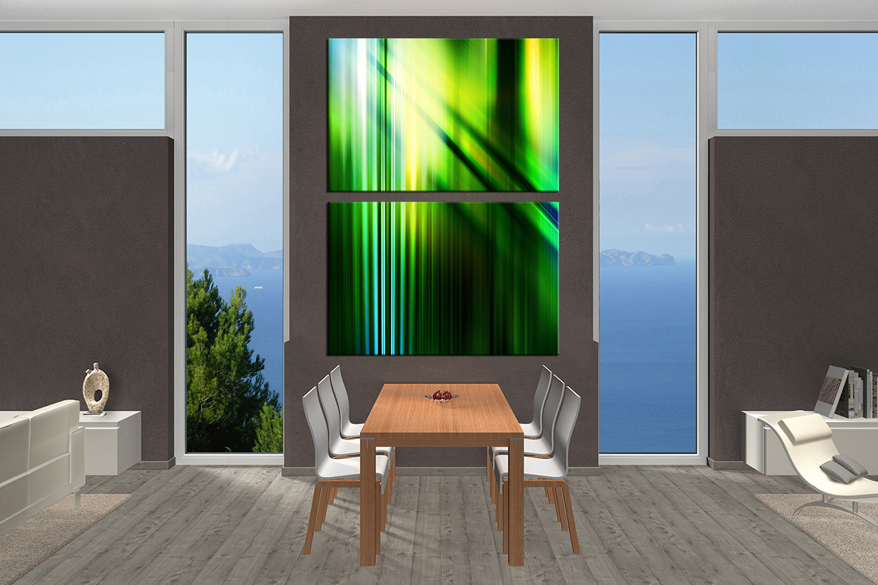 Dining Room Art 2 Piece Canvas Prints Green Abstract Photography