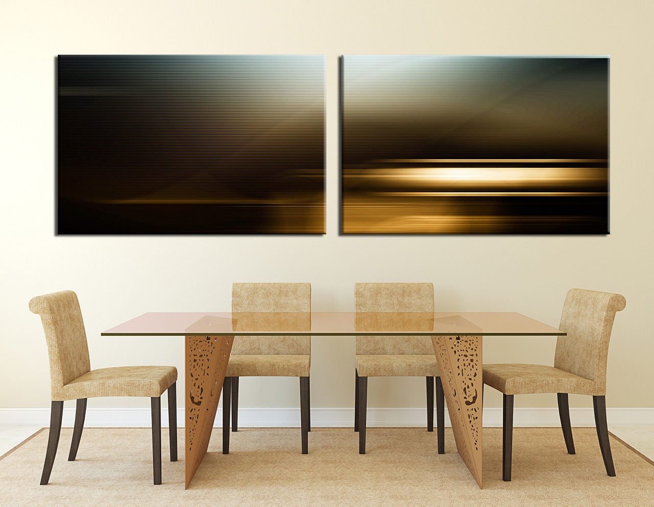 Dining Room Art, 2 Piece Canvas Art Prints, Brown Abstract Canvas  Photography, Abstract