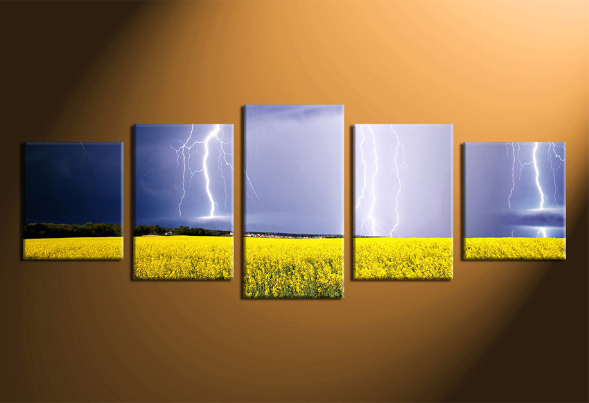 5 piece multi panel canvas scenery huge pictures lightning 5 piece canvas wall art home decor scenery canvas photography panoramic scenery multi mightylinksfo