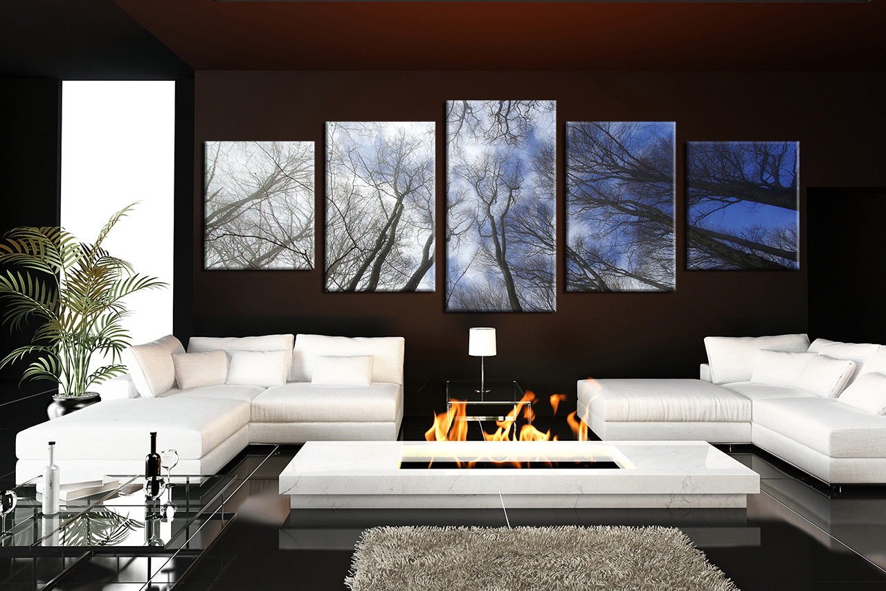 5 piece huge pictures blue sky wall decor panoramic scenery multi panel art trees artwork. Black Bedroom Furniture Sets. Home Design Ideas