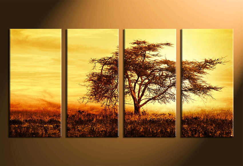 4 Piece Canvas Wall Art, Scenery Multi Panel Art, Yellow Sky Huge ...