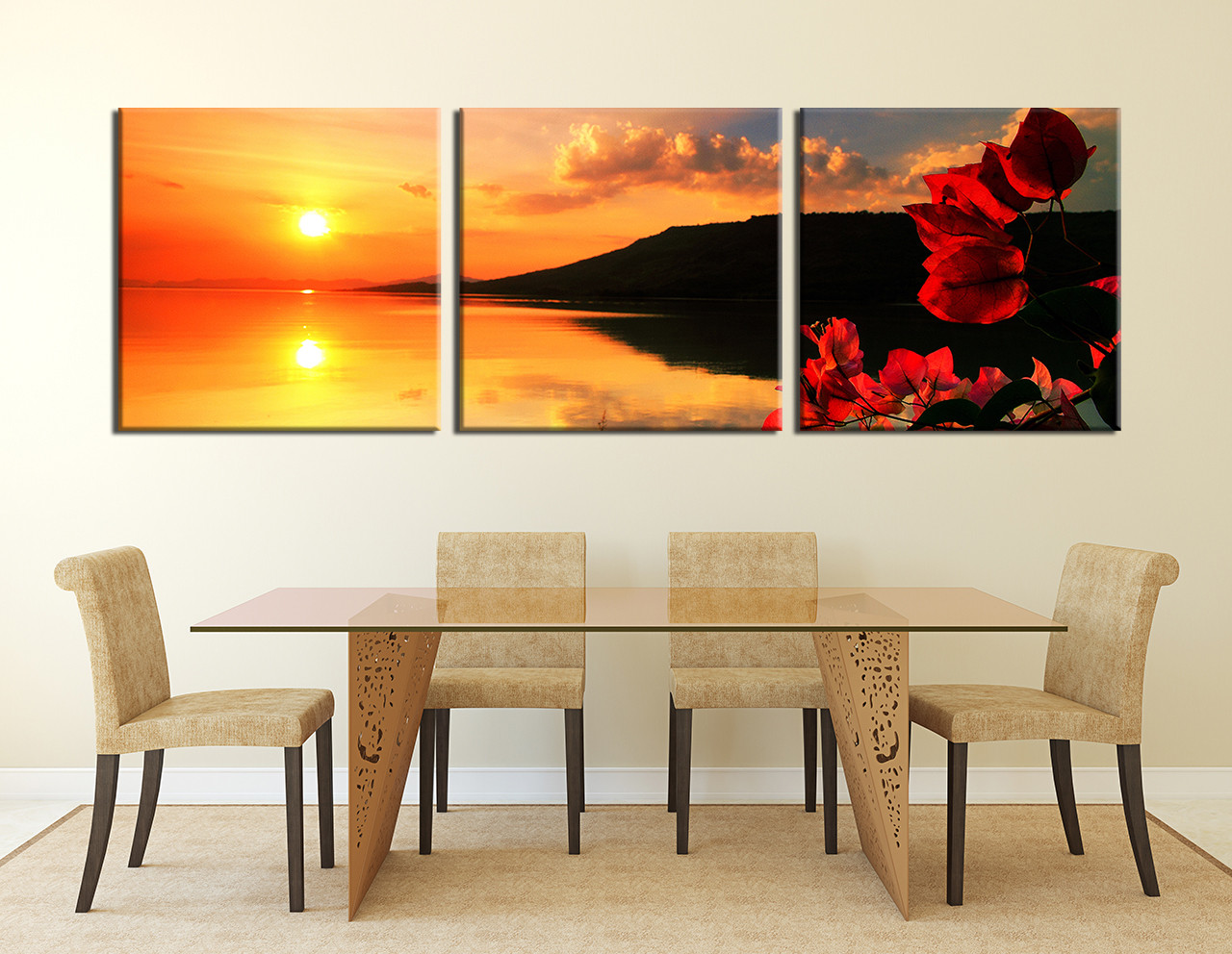 3 Piece Canvas Print Dining Room Wall Decor Orange Multi Panel Canvas Flower