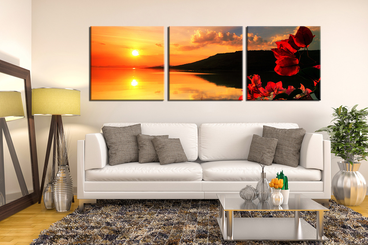 3 Piece Artwork, Living Room Large Pictures, Orange Canvas Photography,  Flower Sunrise Group