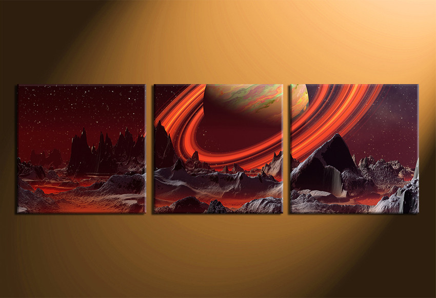 3 Piece Large Pictures, Planet Multi Panel Canvas, Mountain Canvas ...