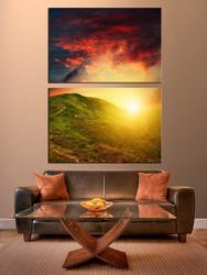 living room art, 2 piece canvas wall art, landscape large pictures, sunrise artwork, landscape wall decor, landscape pictures, home wall decor