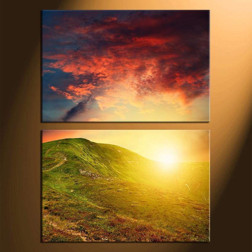 2 Piece Canvas Photography, Mountain Large Pictures, Landscape ...