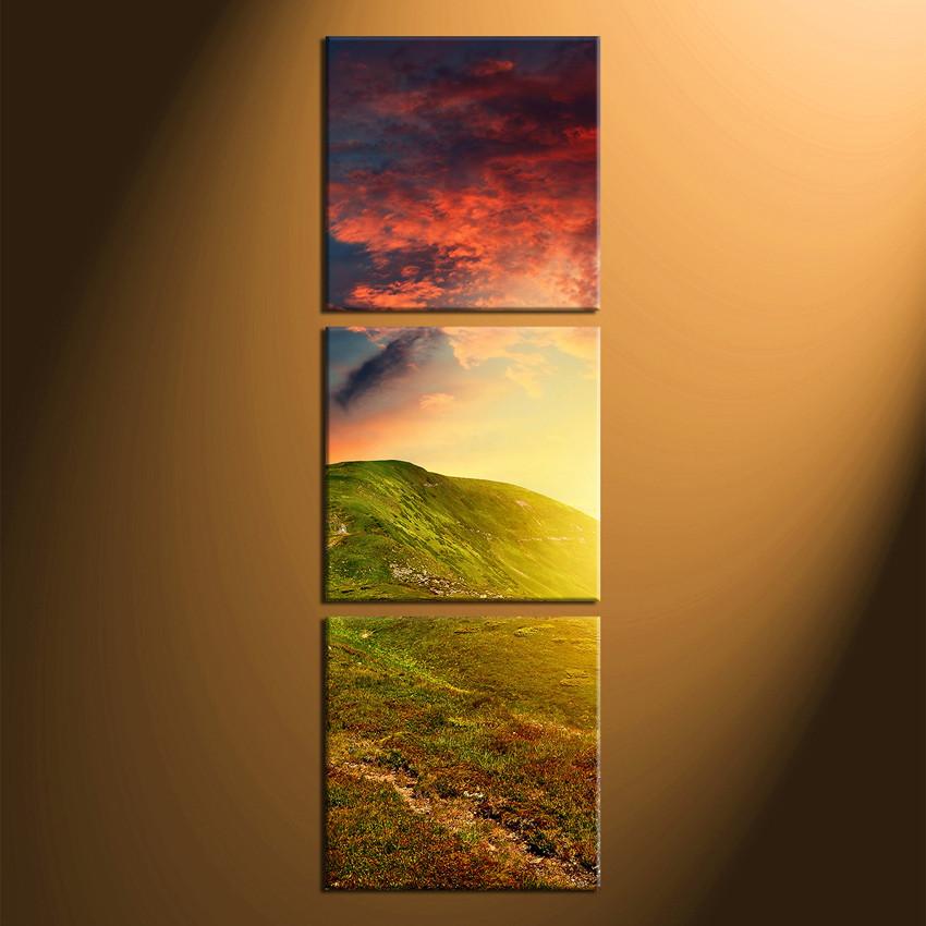 3 Piece Group Canvas, Mountain Multi Panel Art, Landscape Clouds ...
