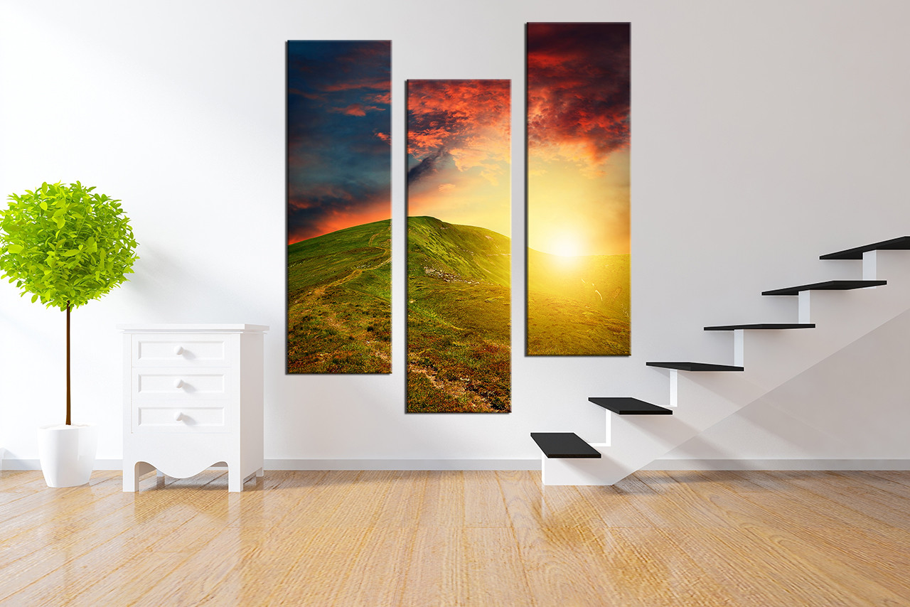 3 Piece Canvas Photography, Mountain Large Pictures, Sunrise Artwork ...