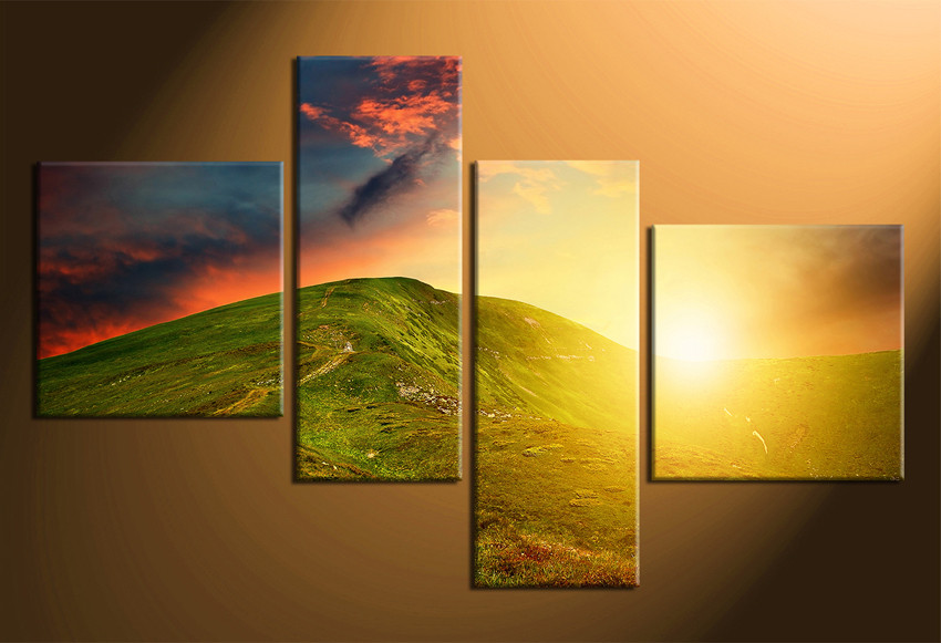 4 Piece Huge Canvas Art, Mountain Large Pictures, Landscape Multi ...
