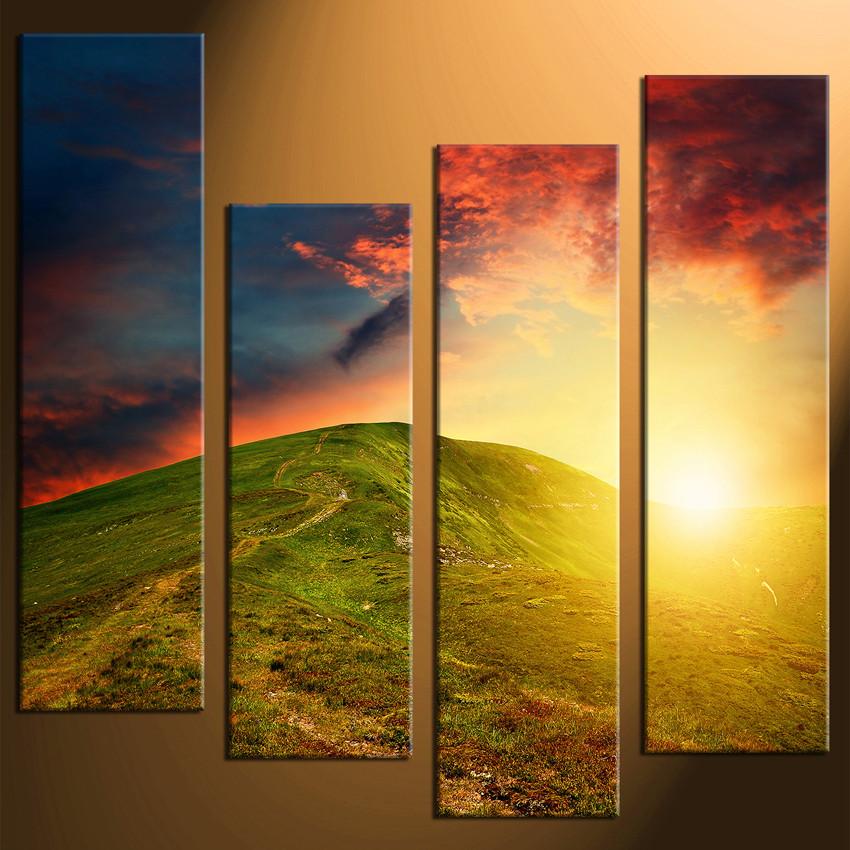 4 Piece Huge Canvas Print, Mountain Large Pictures, Landscape Multi ...