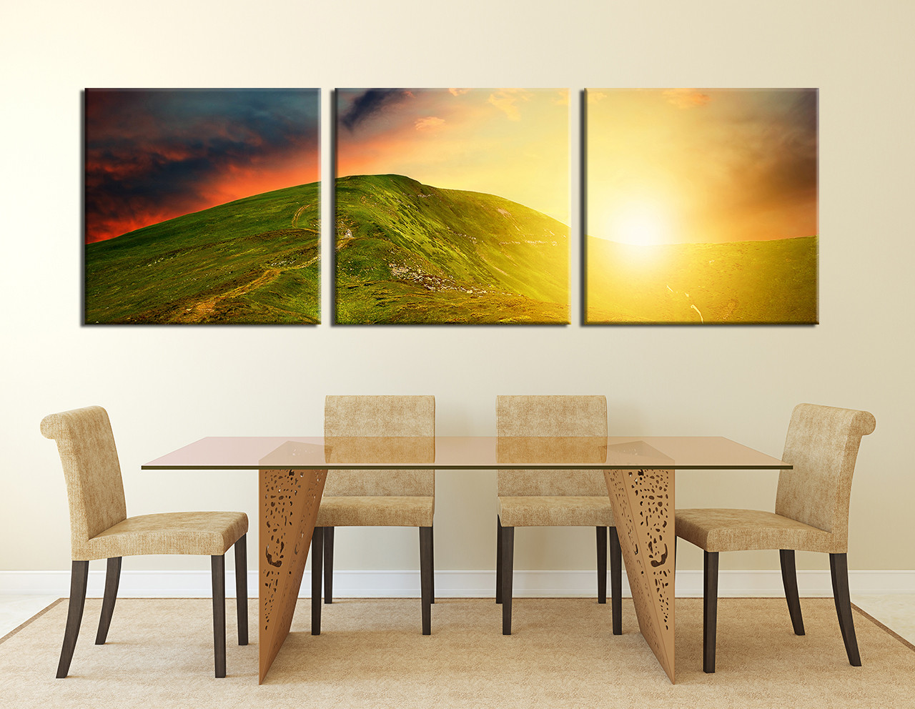 3 Piece Photo Canvas, Mountain Multi Panel Art, Landscape Clouds ...