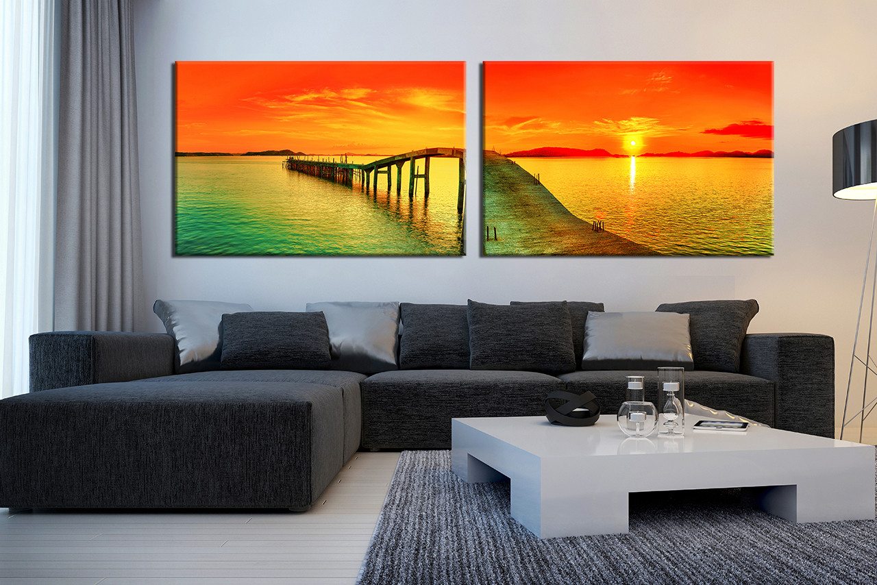 Panoramic Wall Art 2 piece canvas photography, panoramic sea wall decor, ocean large