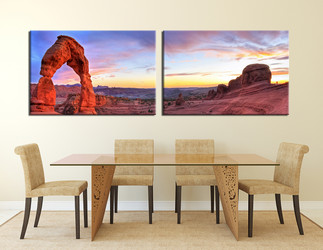 landscape art, two piece wall art, mountain canvas art, dining room wall decor, landscape canvas print