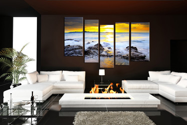 5 piece multi panel art, living room artwork, ocean group canvas, yellow canvas print, sea canvas photography