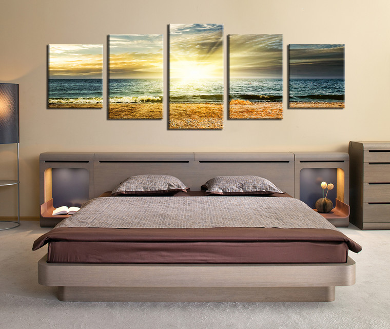 Artwork For The Bedroom Bedroom Extension Ideas Bedroom Wall Ideas Duck Egg Blue Bedroom Inspiration: 5 Piece Wall Decor, Panoramic Canvas Photography, Ocean