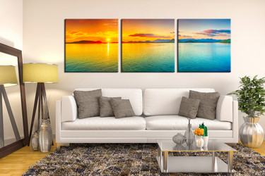 3 piece wall decor, living room huge canvas art, ocean group canvas, orange multi panel canvas, panoramic large pictures